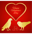 golden birds pigeons and heart valentines vector image