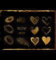 golden set of the hand drawing hearts isolated vector image