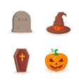 Grave coffin pumpkin and witch hat vector image vector image