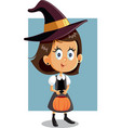 halloween girl in witch costume going trick or vector image