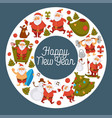 happy new year cartoon santa celebrating holidays vector image
