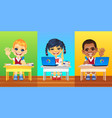 happy smiling schoolkids vector image