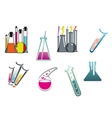 Laboratory and test tubes set vector image vector image