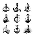 lighthouse logo business stylized marine symbols vector image vector image