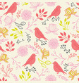 line art birds and flowers seamless pattern vector image vector image