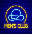 male club for gentlemen neon vector image vector image