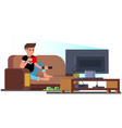 man watching television couch vector image vector image