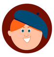 man with blue beret on white background vector image vector image