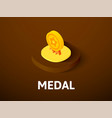 medal isometric icon isolated on color background vector image vector image