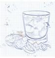 Negroni alcoholic cocktail on a notebook page vector image vector image