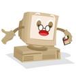 old computer mascot vector image vector image