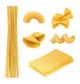 pasta realistic italian food farfalle fusilli vector image vector image