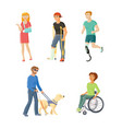 people with injures traumas and disabilities vector image vector image