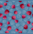 pink raspberry berries seamless pattern on a blue vector image vector image
