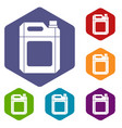 plastic jerry can icons set vector image vector image