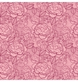 Red line art flowers seamless pattern background vector image