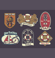 set of nautical badge vector image