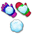 set of winter knitted colorful gloves snowballs vector image