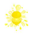 sliced lemon juice splashing colorful fresh juicy vector image