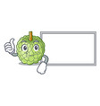 thumbs up with board sugar apple fruit isolated on vector image vector image