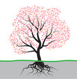 tree with blossom and roots vector image vector image