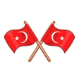 Turkey crossed flags icon cartoon style vector image vector image