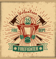 vintage firefighting label vector image vector image