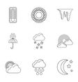 Weather outside icons set outline style vector image vector image