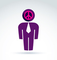 White collar office worker man icon peace sign