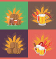 four sets of beer composition vector image