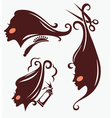 head silhouettes and hairdresser equipment vector image
