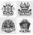 Viking Design Emblem Set vector image