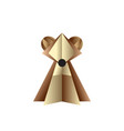 brown bear made of paper on white fon vector image
