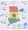 Dot And Flag Map Of Ghana Infographic Design vector image