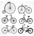 set of bicycles on a white background vector image