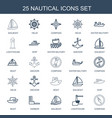 25 nautical icons vector image vector image