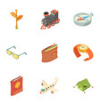 above the world icons set isometric style vector image vector image