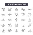 aviation line icons for web and mobile design vector image vector image