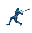 baseball player action cartoon graphic vector image