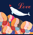 beautiful festive greeting card with a narwhal in vector image vector image