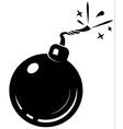 black bomb icon with burning wick vector image vector image