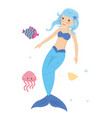 blue haired mermaid princess in the sea vector image vector image