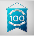blue pennant with inscription hundred years vector image
