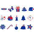 blue red new year icons vector image vector image