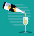 bottle of champagne with cup vector image