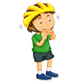 Boy wearing yellow helmet vector image
