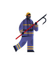 brave fireman holding scrap firefighter wearing vector image