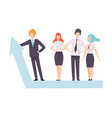 business people standing on growth arrow graph vector image vector image