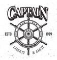 captain ship wheel vintage label emblem or print vector image vector image