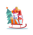 children s sled with pile presents and a vector image vector image